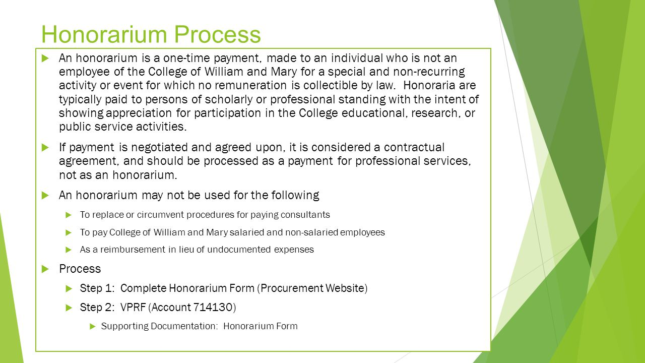 Honorarium Process