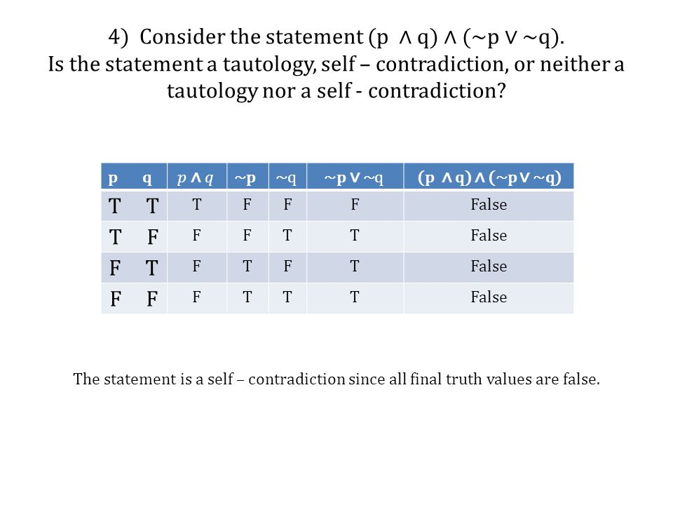 4) Consider the statement (p ∧ q) ∧ (~p ∨ ~q)