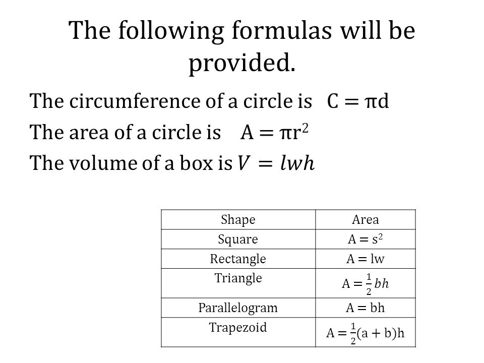 The following formulas will be provided.