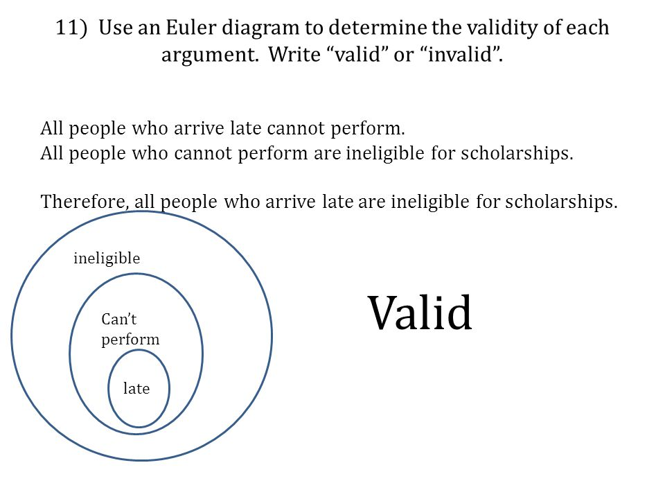 11) Use an Euler diagram to determine the validity of each argument