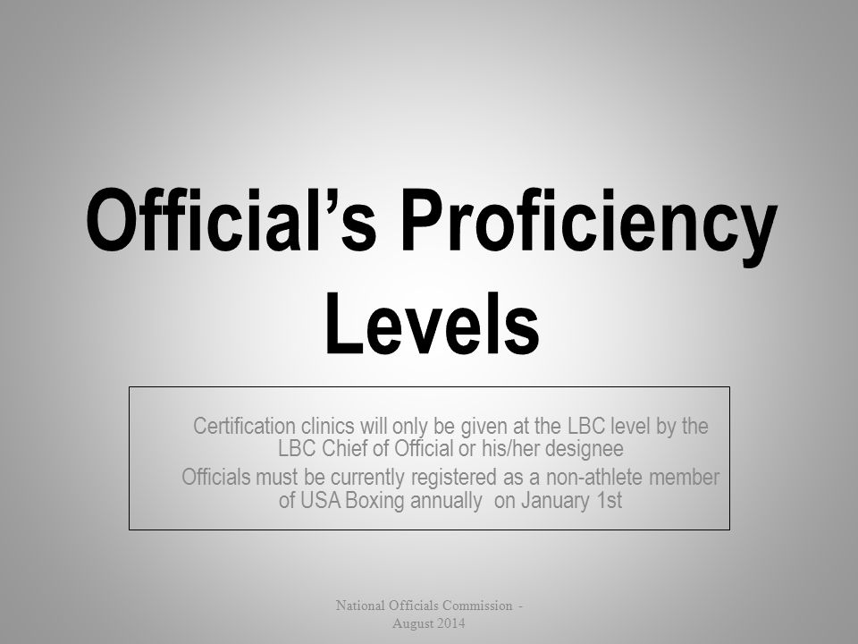 Official's Proficiency Levels