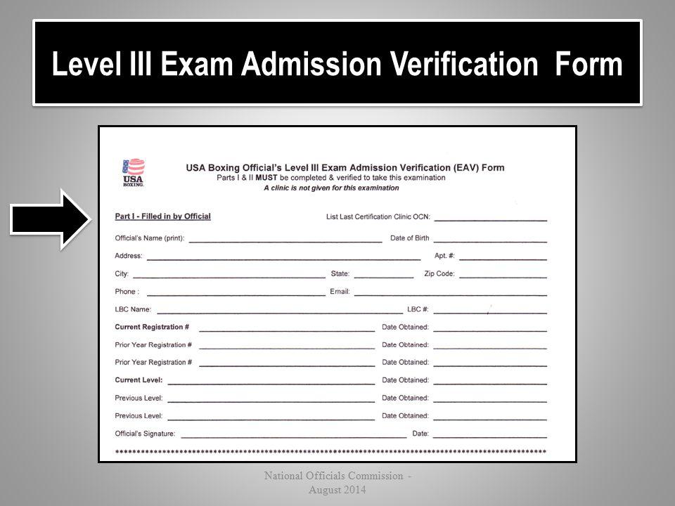 Level III Exam Admission Verification Form