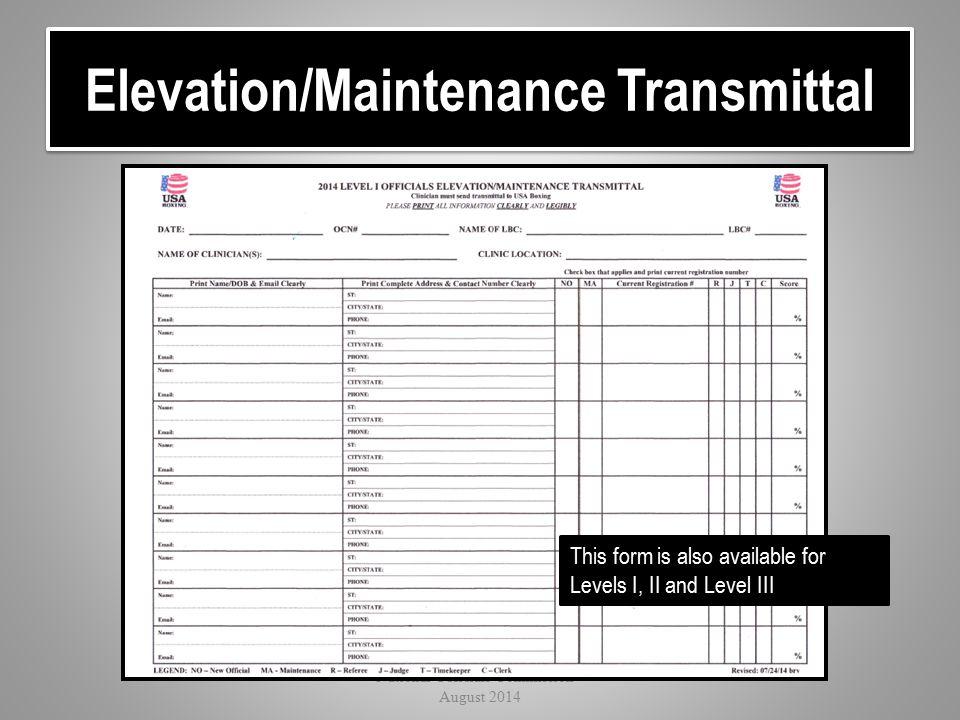 Elevation/Maintenance Transmittal