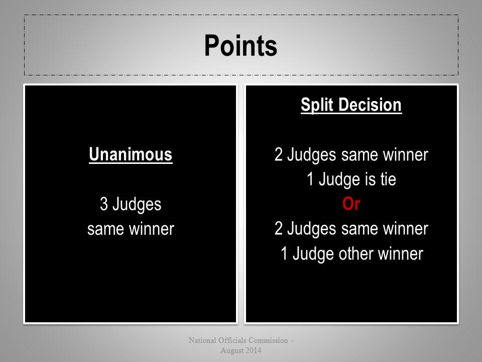 Unanimous 3 Judges same winner
