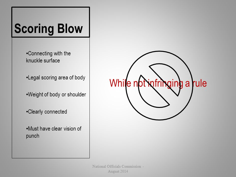 Scoring Blow While not infringing a rule