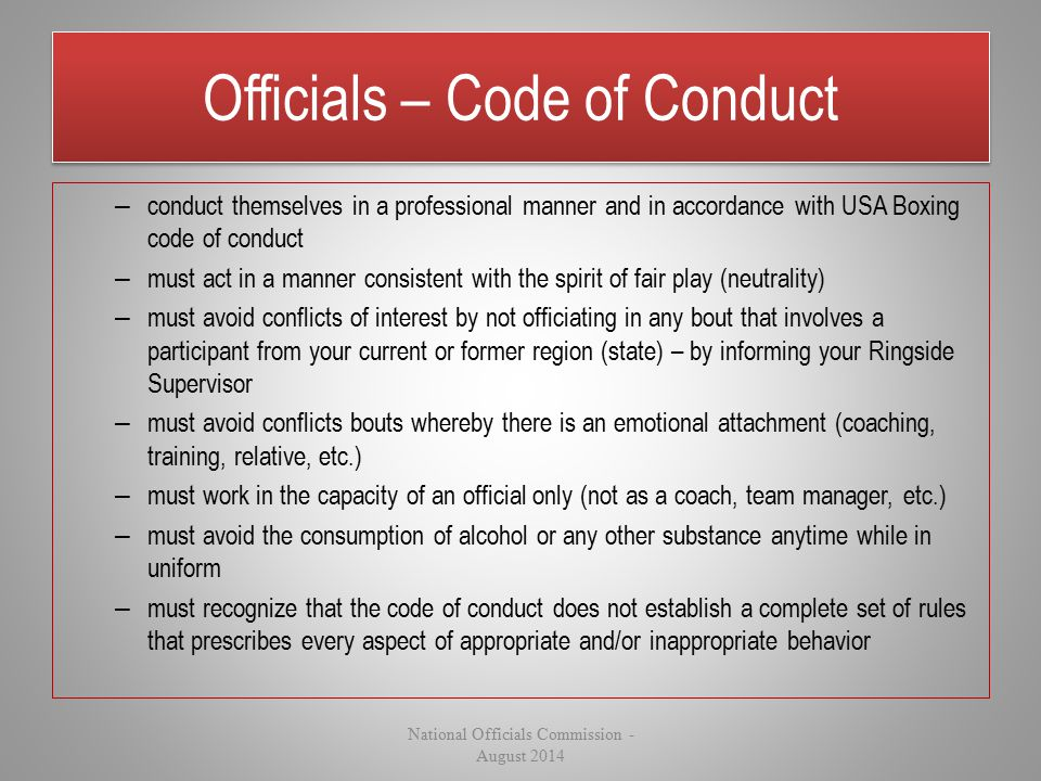Officials – Code of Conduct