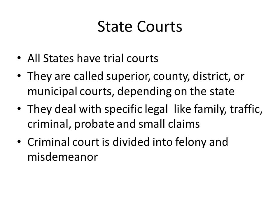 State Courts All States have trial courts