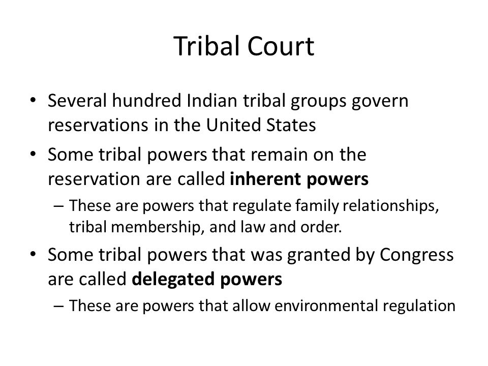 Tribal Court Several hundred Indian tribal groups govern reservations in the United States.