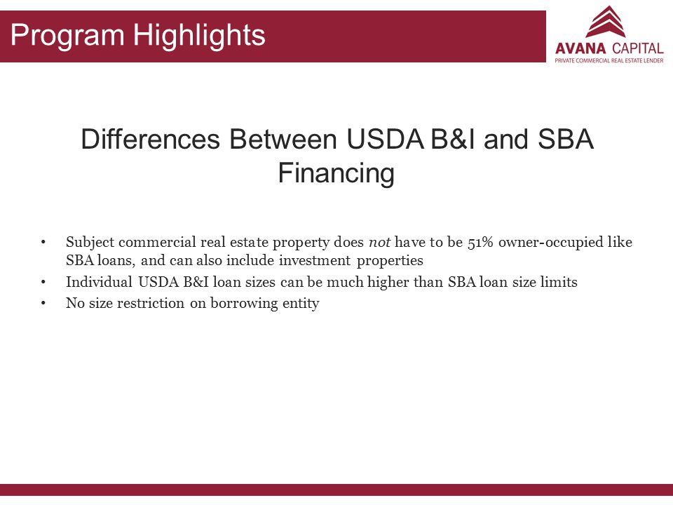 Differences Between USDA B&I and SBA Financing