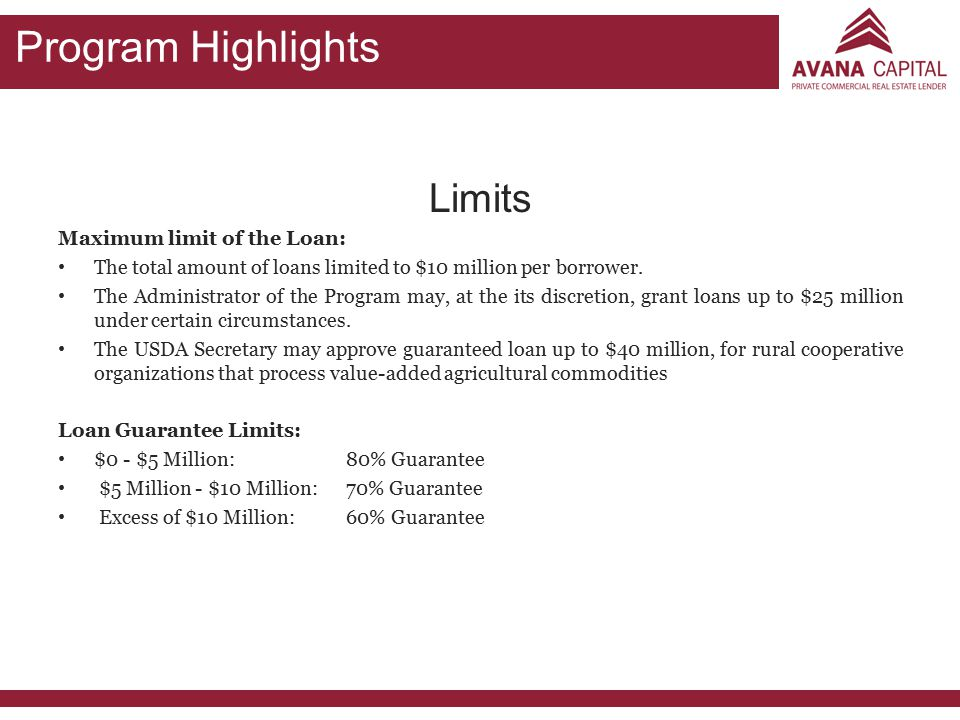 Program Highlights Limits Maximum limit of the Loan: