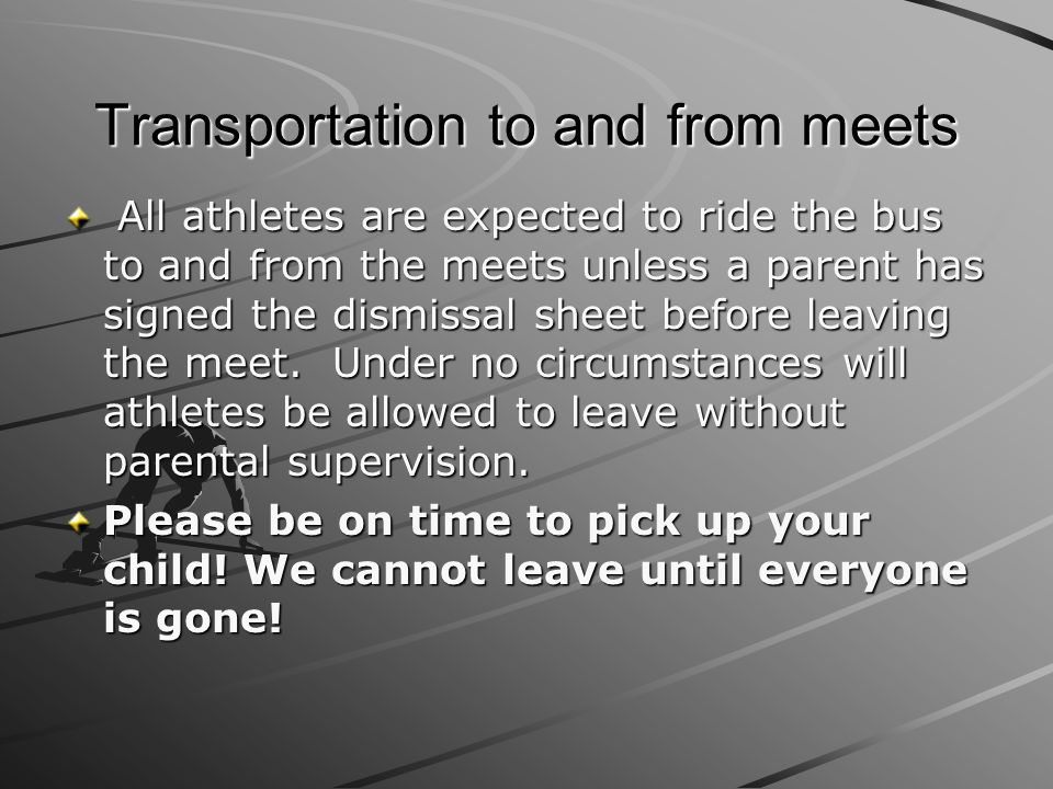 Transportation to and from meets