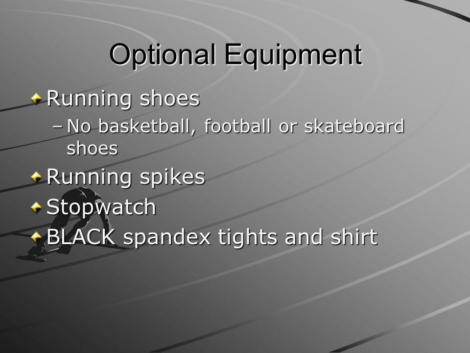 Optional Equipment Running shoes Running spikes Stopwatch