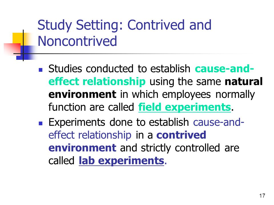 Study Setting: Contrived and Noncontrived