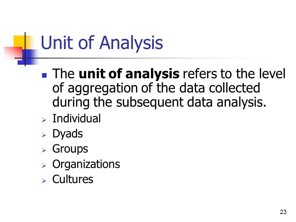 Unit of Analysis The unit of analysis refers to the level of aggregation of the data collected during the subsequent data analysis.