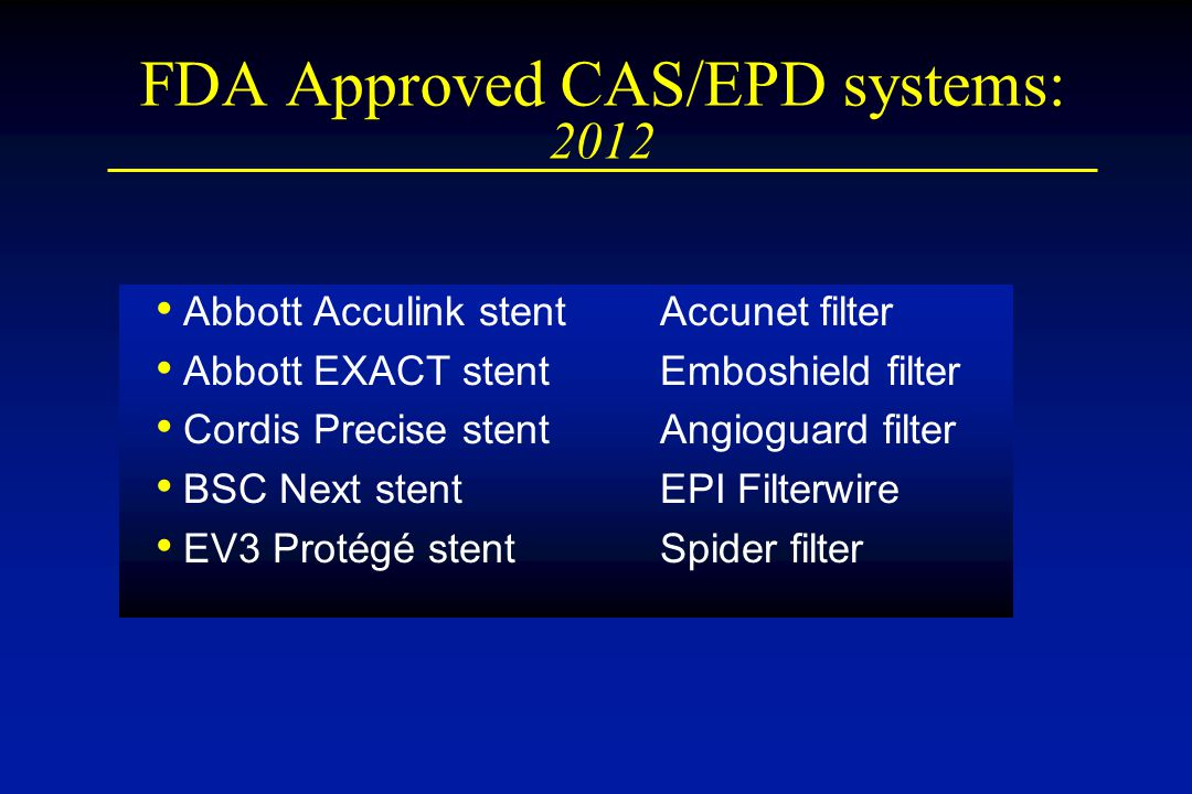 FDA Approved CAS/EPD systems: 2012