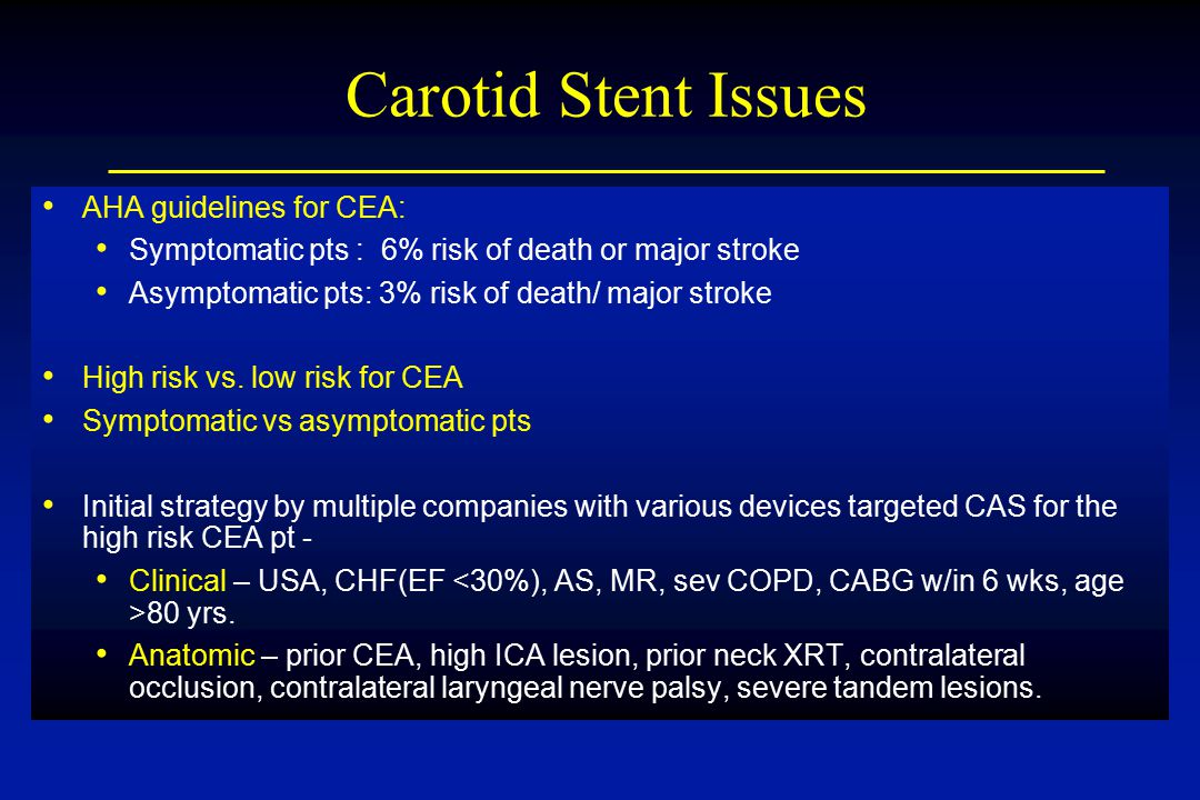 Carotid Stent Issues AHA guidelines for CEA: