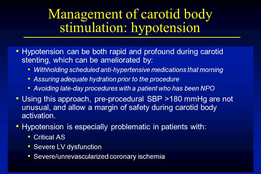 Management of carotid body stimulation: hypotension