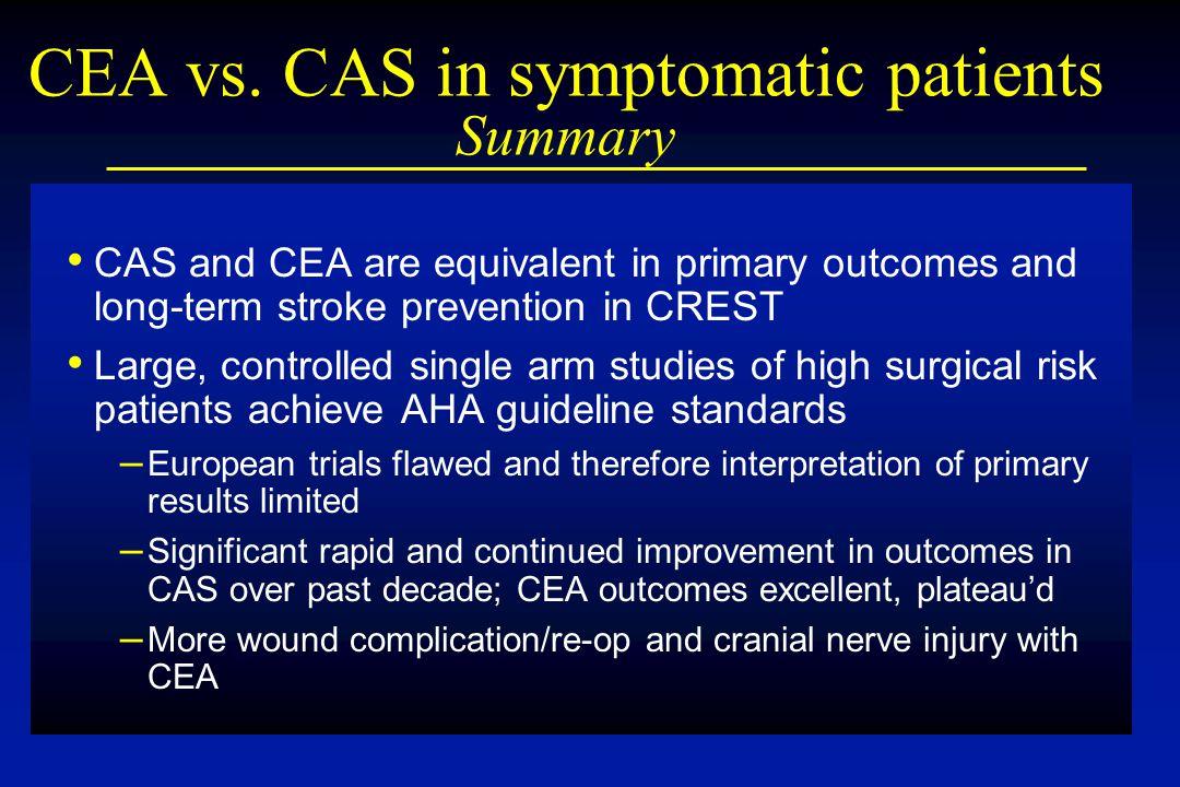 CEA vs. CAS in symptomatic patients Summary