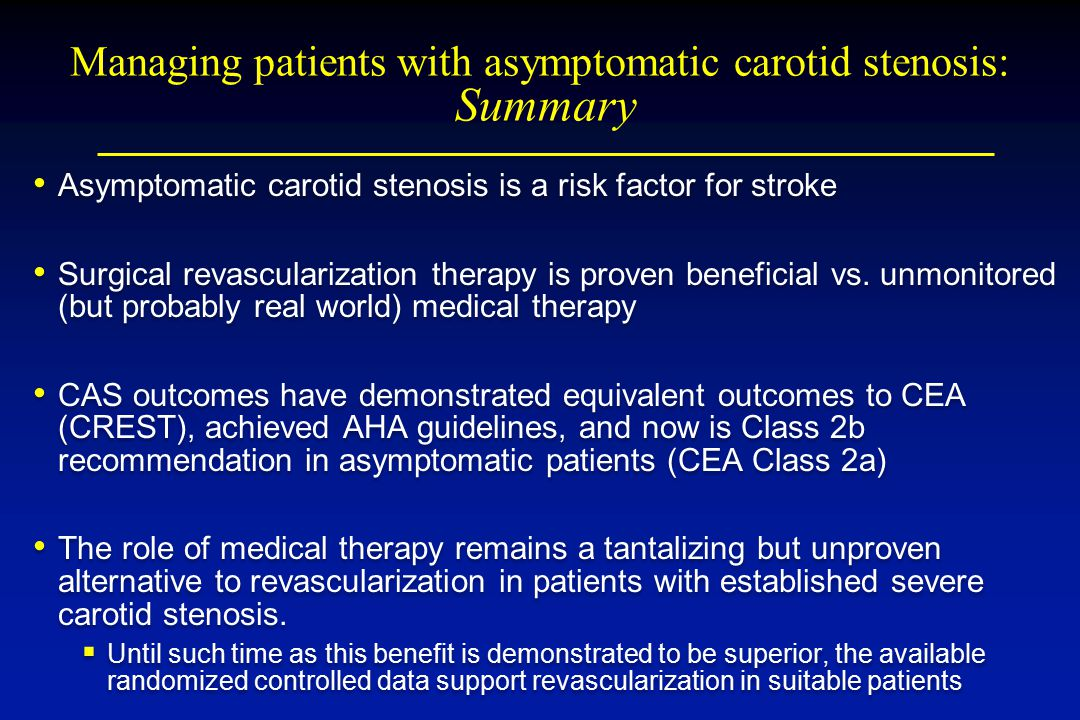 Managing patients with asymptomatic carotid stenosis: Summary