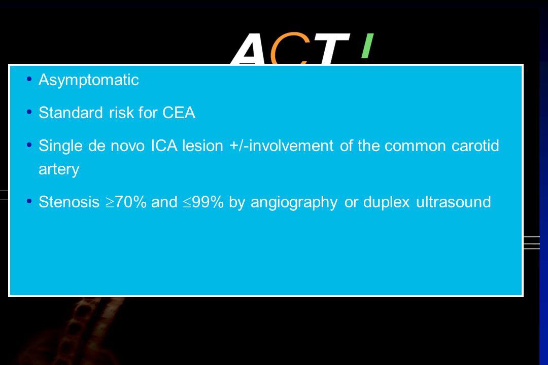 Single de novo ICA lesion +/-involvement of the common carotid artery