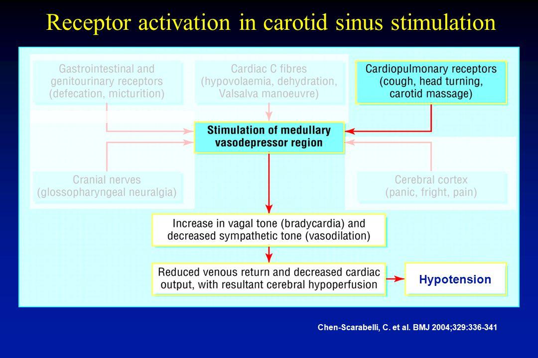 Receptor activation in carotid sinus stimulation