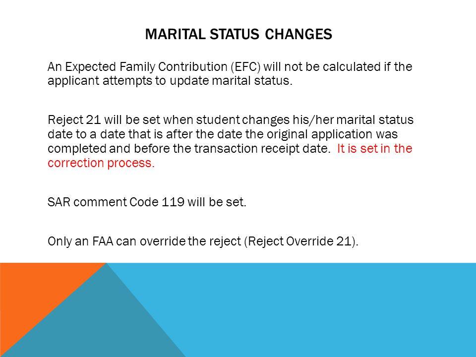 Marital Status Changes