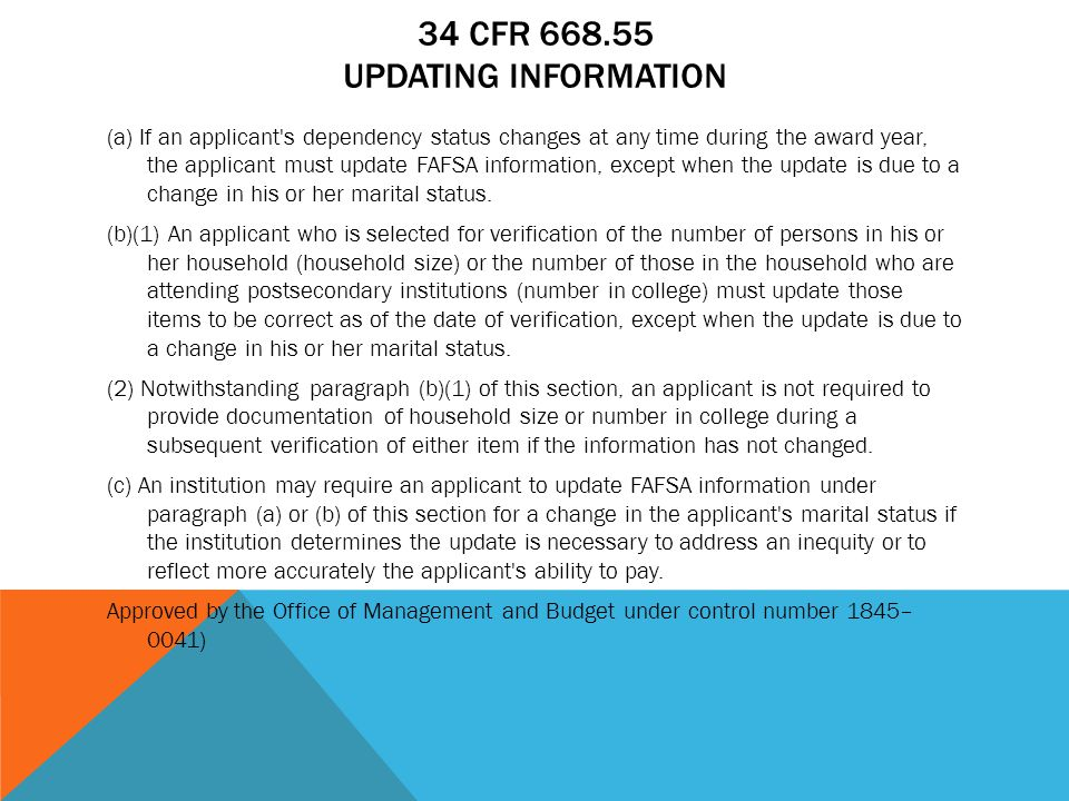 34 CFR 668.55 Updating Information