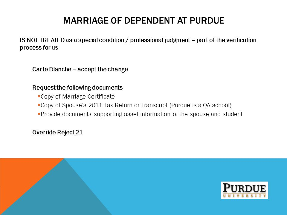 Marriage of Dependent at Purdue