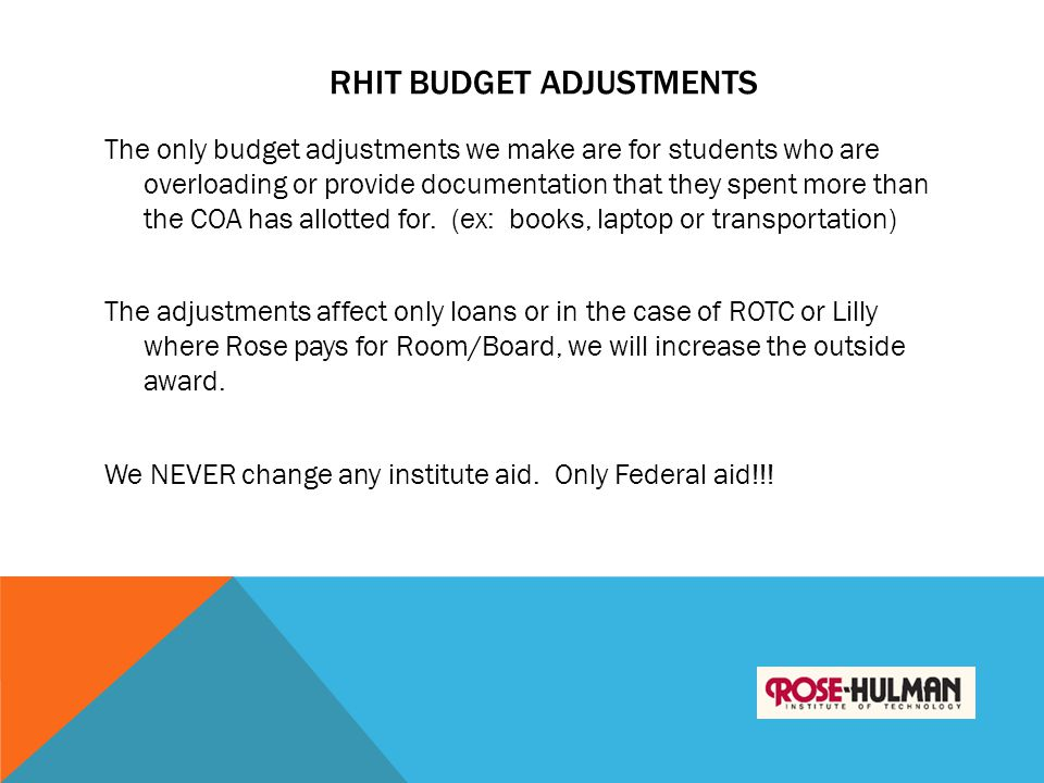 RHIT Budget Adjustments