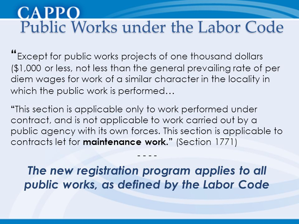 Public Works under the Labor Code