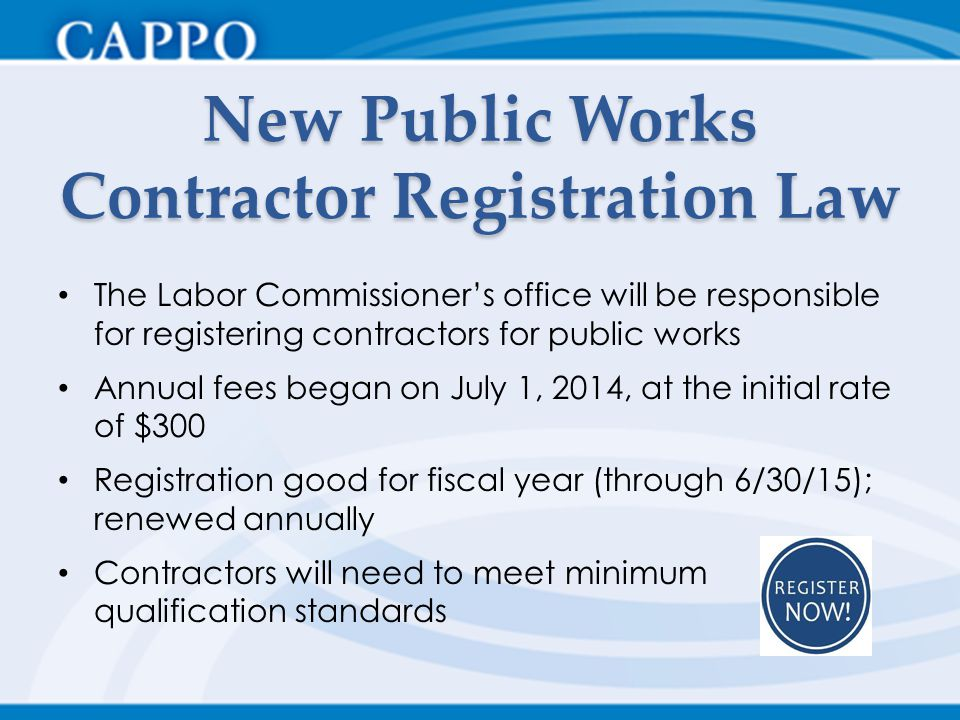 New Public Works Contractor Registration Law