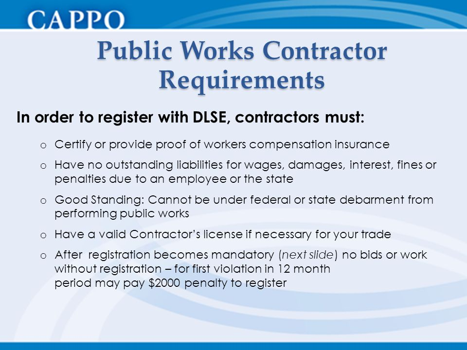 Public Works Contractor Requirements