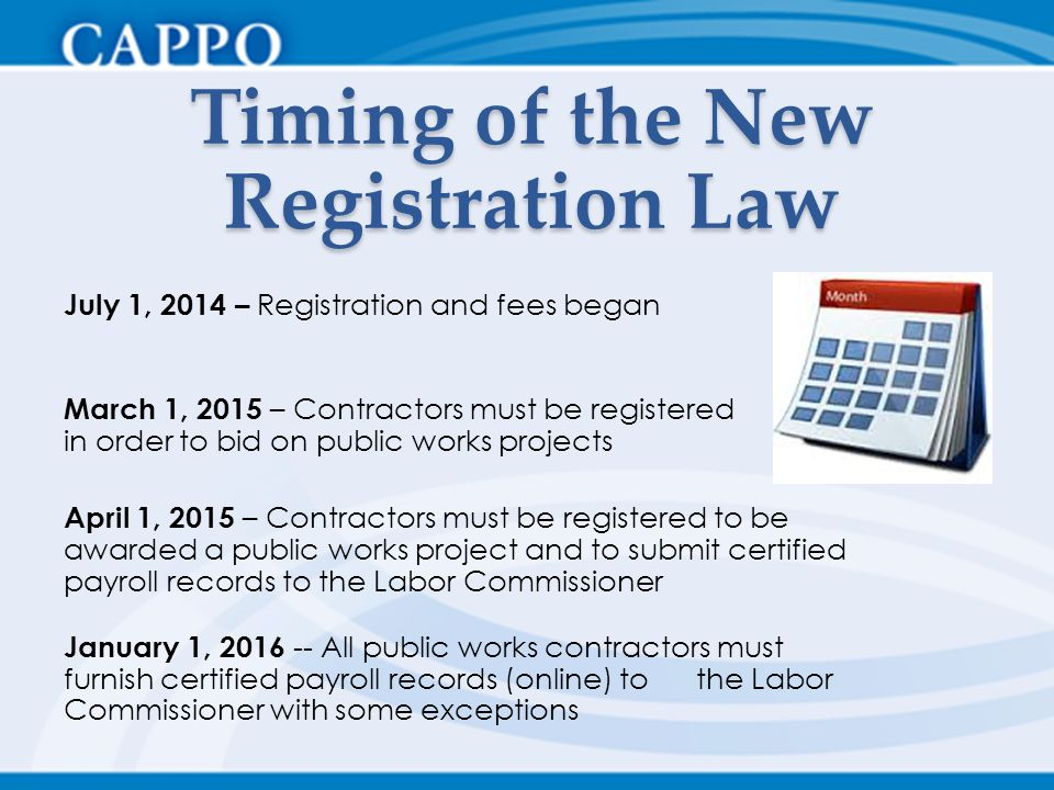 Timing of the New Registration Law