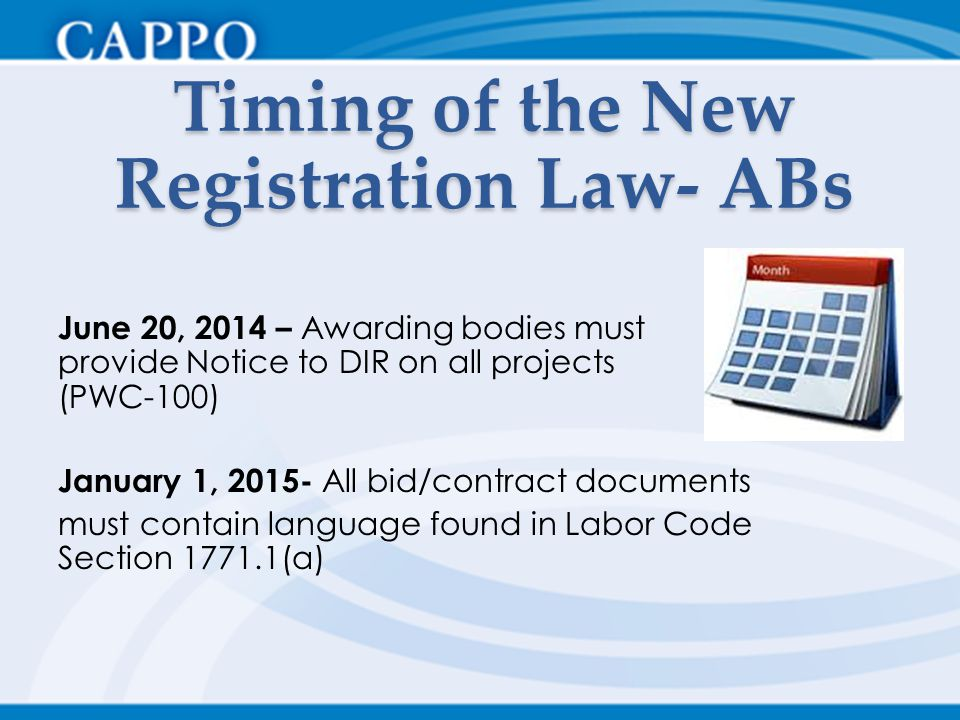Timing of the New Registration Law- ABs