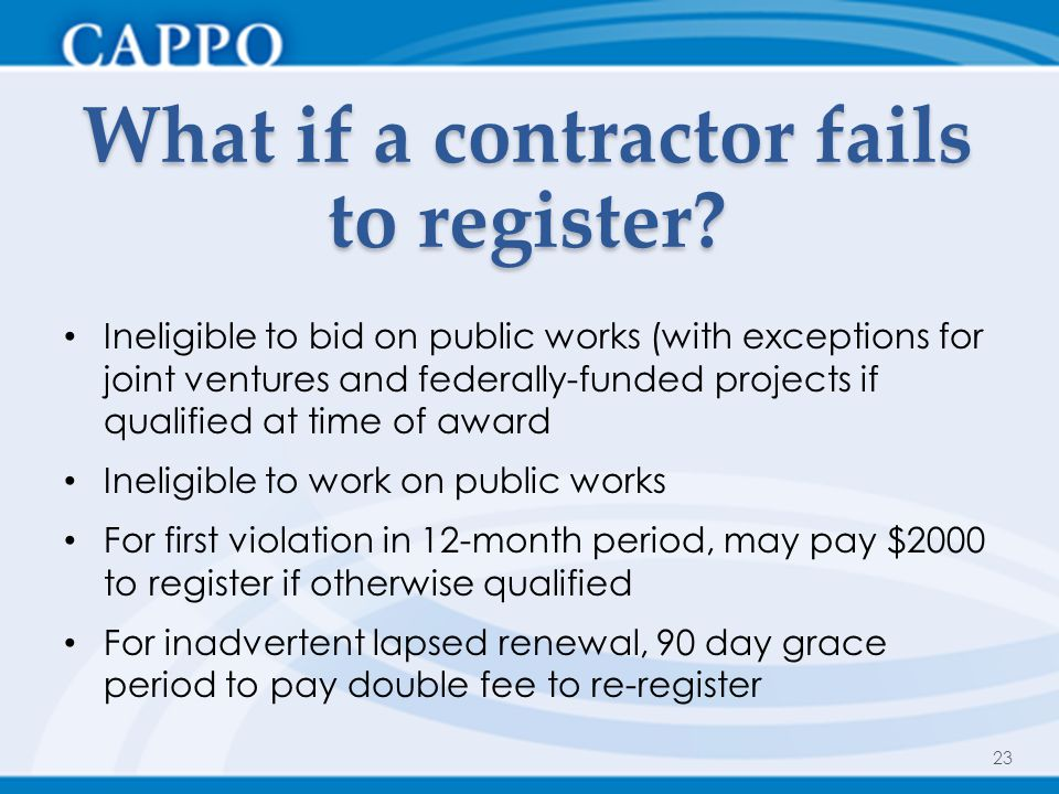 What if a contractor fails to register