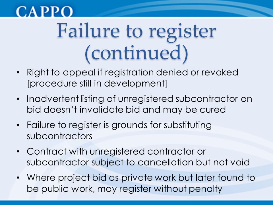 Failure to register (continued)