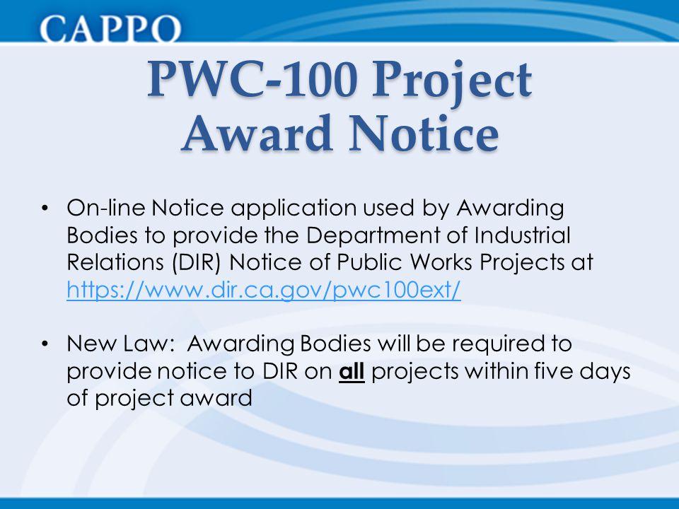 PWC-100 Project Award Notice