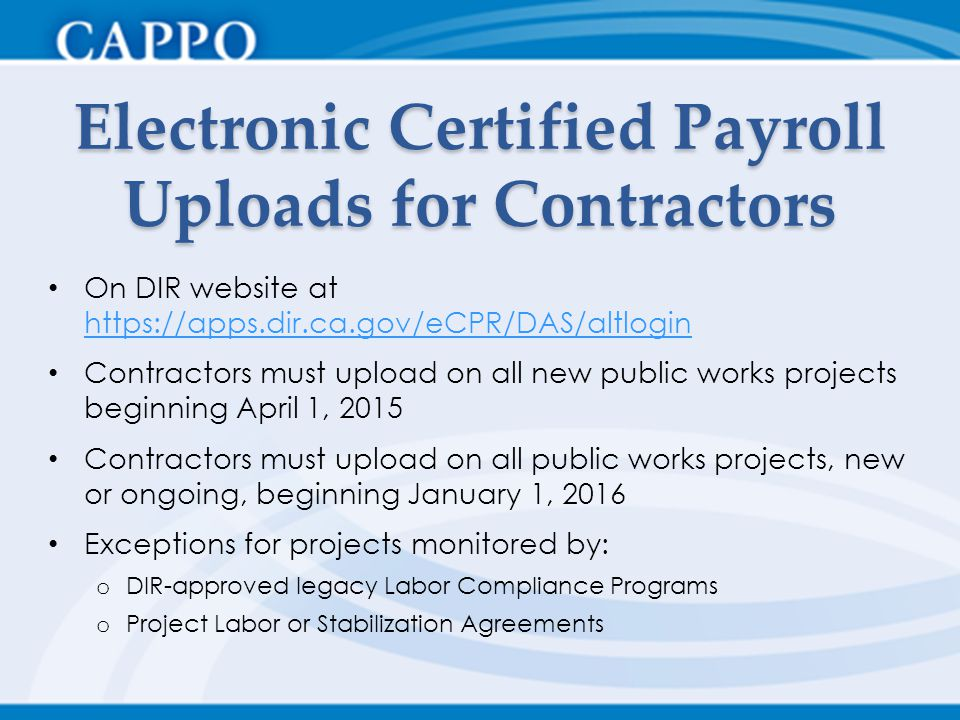 Electronic Certified Payroll Uploads for Contractors