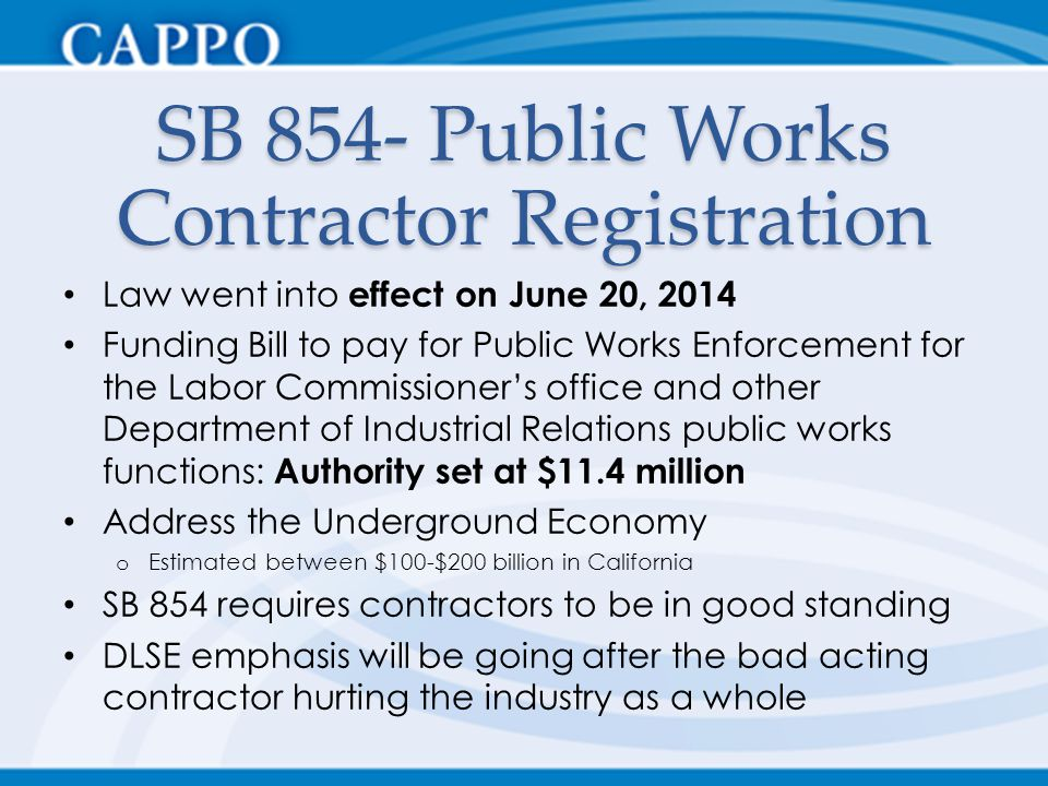 SB 854- Public Works Contractor Registration