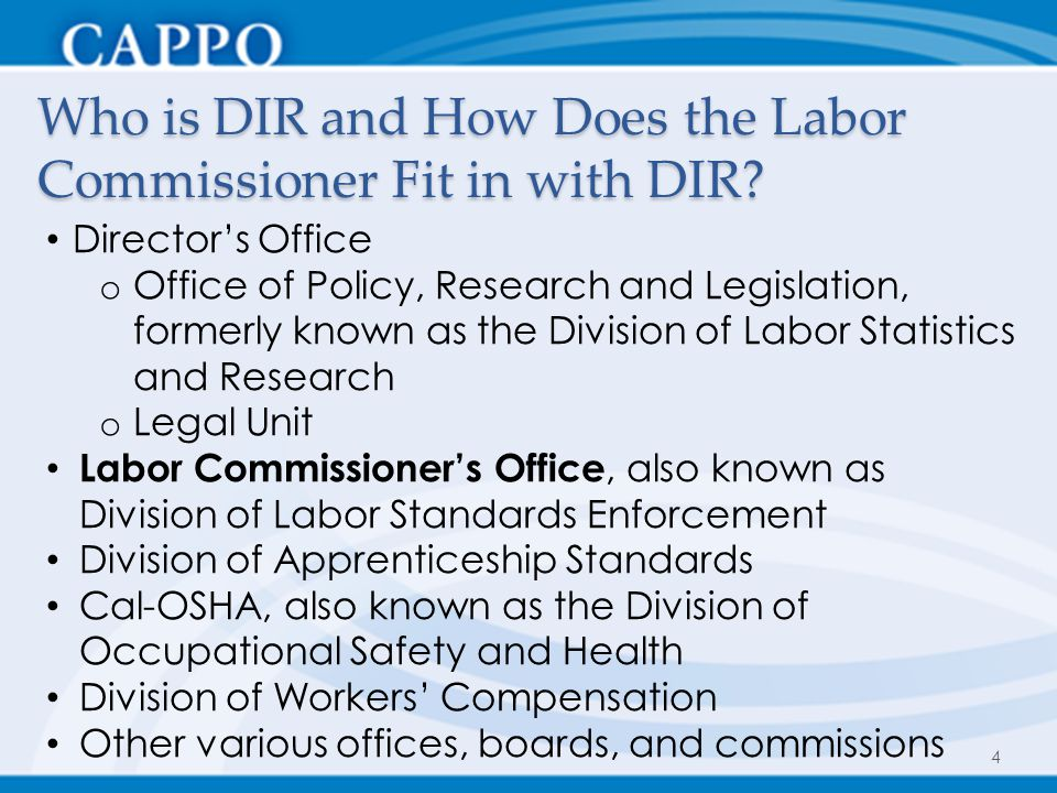 Who is DIR and How Does the Labor Commissioner Fit in with DIR