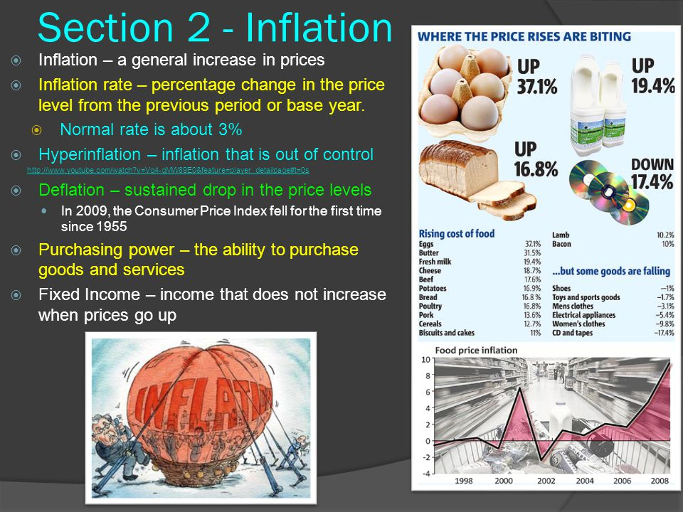 Section 2 - Inflation Inflation – a general increase in prices
