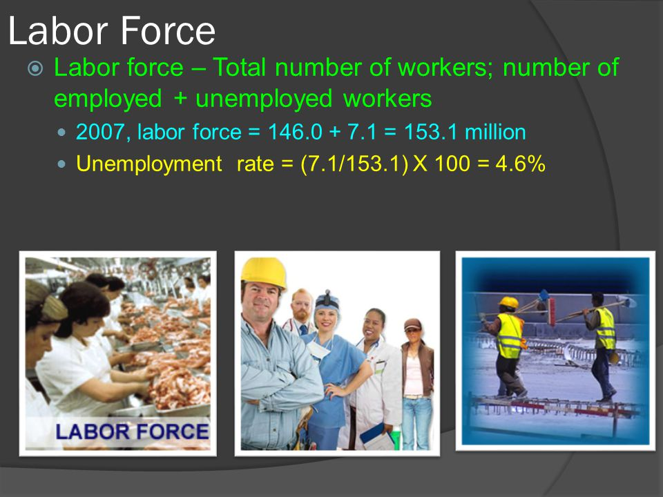 Labor Force Labor force – Total number of workers; number of employed + unemployed workers. 2007, labor force = 146.0 + 7.1 = 153.1 million.