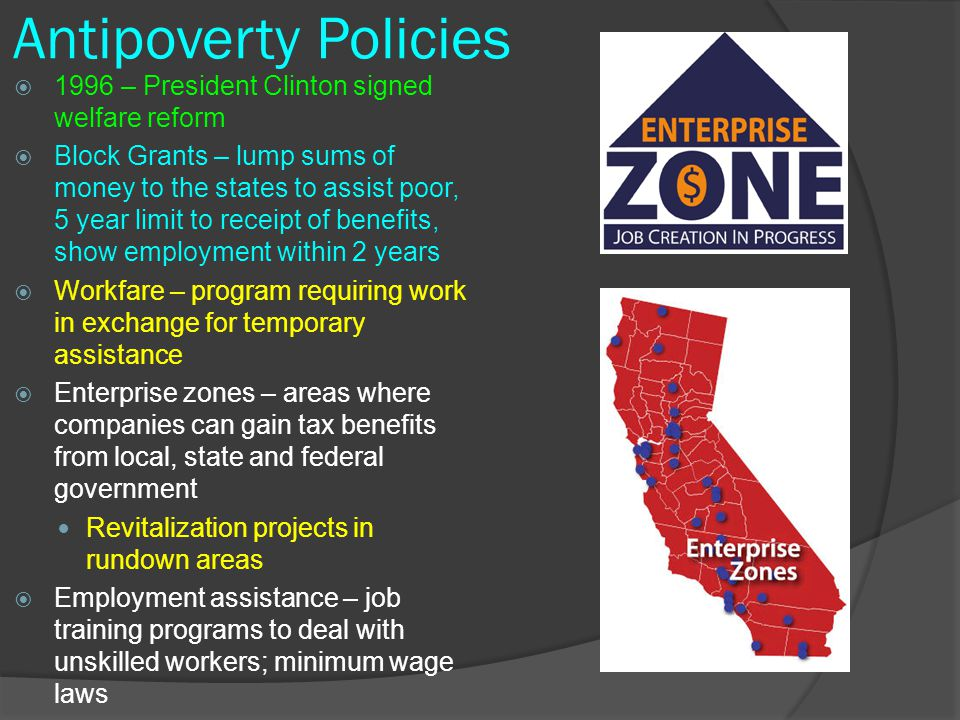 Antipoverty Policies 1996 – President Clinton signed welfare reform