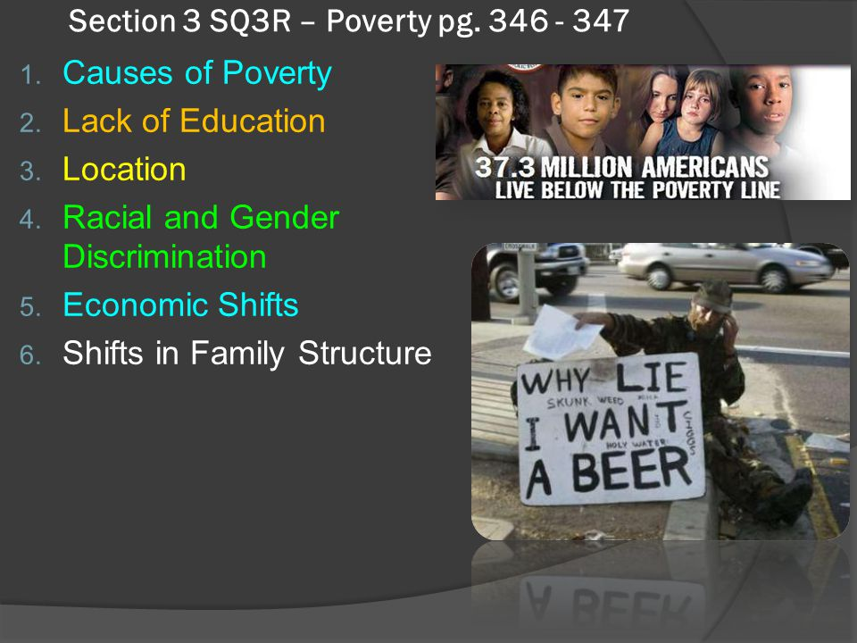 Section 3 SQ3R – Poverty pg. 346 - 347