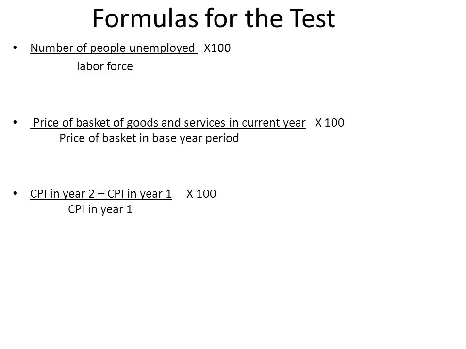 Formulas for the Test Number of people unemployed X100 labor force