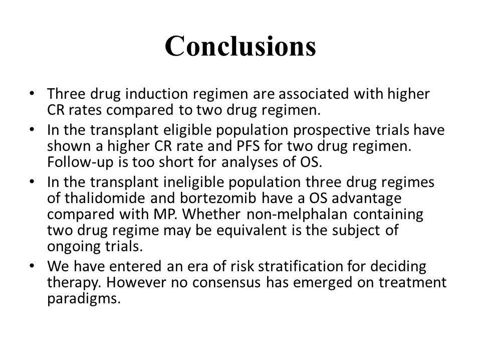 Conclusions Three drug induction regimen are associated with higher CR rates compared to two drug regimen.