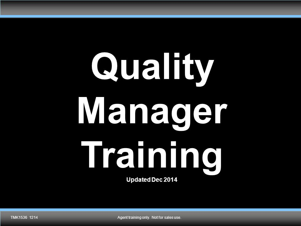 Quality Manager Training