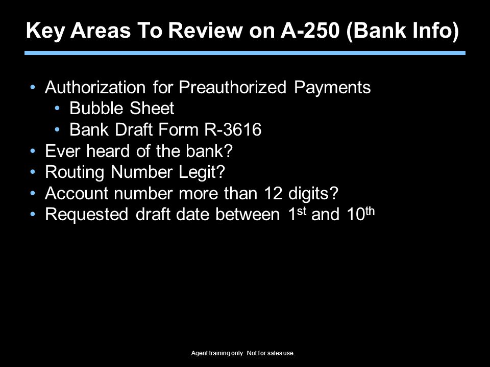 Key Areas To Review on A-250 (Bank Info)