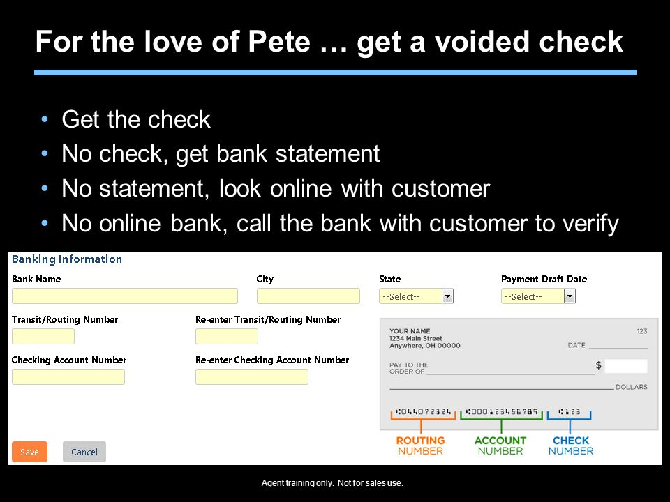 For the love of Pete … get a voided check