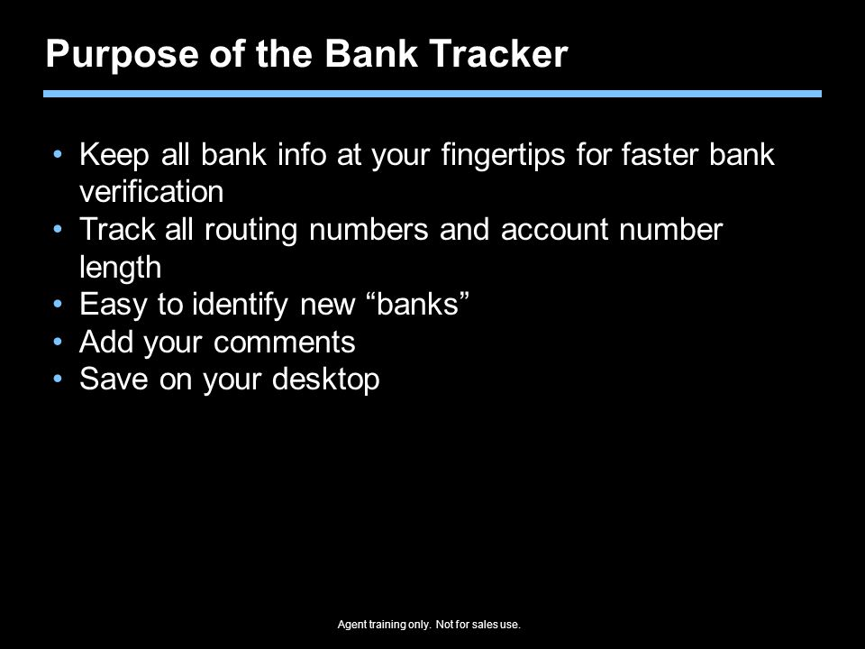 Purpose of the Bank Tracker